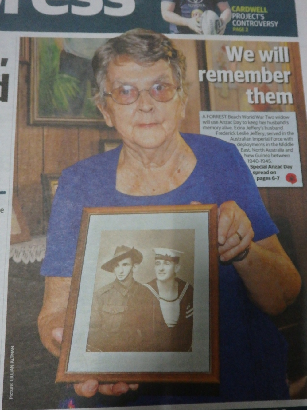 Edna Jeffery holding a photo of her late husband and his brother